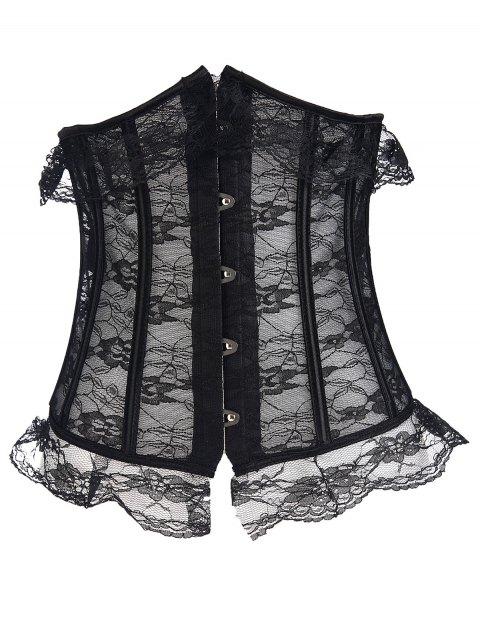 shops Steel Bone Underbust Lace Corset - BLACK M Mobile