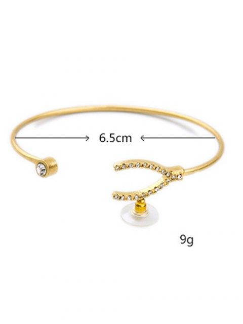 lady Rhinestone Gold Plated Cuff Bracelet - GOLDEN  Mobile