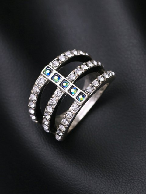 fancy Caged Rhinestone Ring - SILVER  Mobile