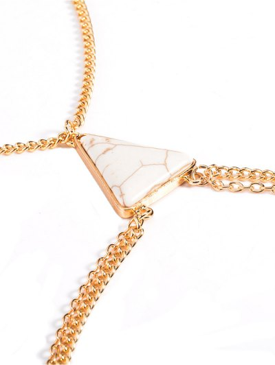 Triangle Faux Turquoise Body Chain - WHITE AND GOLDEN  Mobile