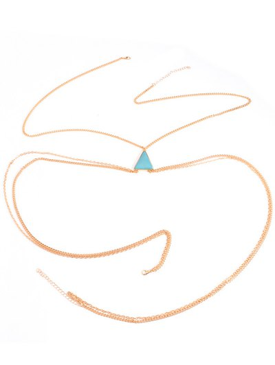 Triangle Faux Turquoise Body Chain - BLUE AND GOLDEN  Mobile