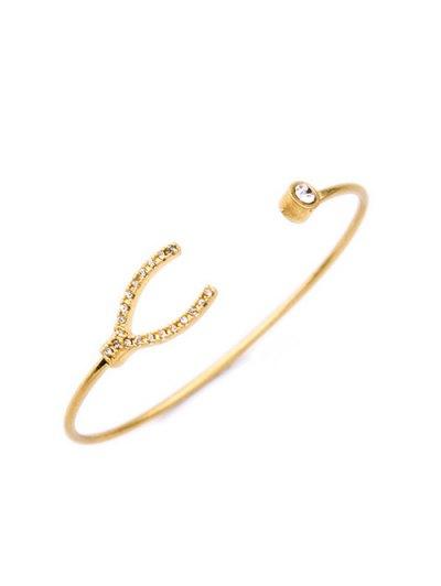 Rhinestone Gold Plated Cuff Bracelet - GOLDEN  Mobile