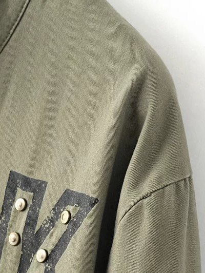 Letter Print Stand Neck Eagle Embroidered Coat - ARMY GREEN L Mobile