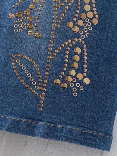 Rivet Sequins Denim Skirt - DENIM BLUE M Mobile