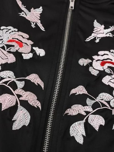 Floral Embroidery Hit Color Stand Neck Jacket - WHITE AND BLACK S Mobile