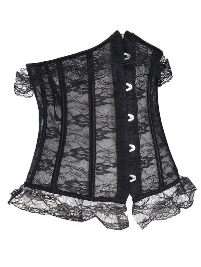Steel Bone Underbust Lace Corset - BLACK M Mobile