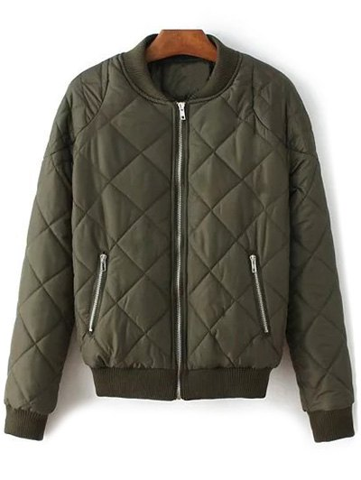 Argyle Stand Neck Solid Color Jacket - Army Green