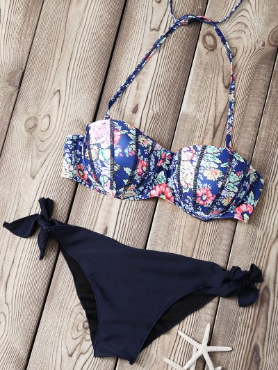 Printed Strapless Underwire Padded Bikini Set - Deep Blue