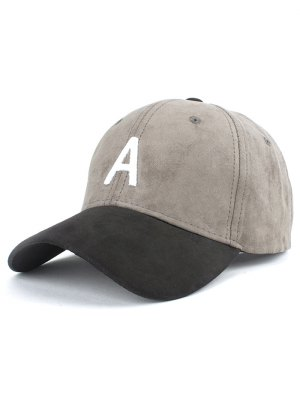 Letter Embroidery Suede Baseball Cap - Gray