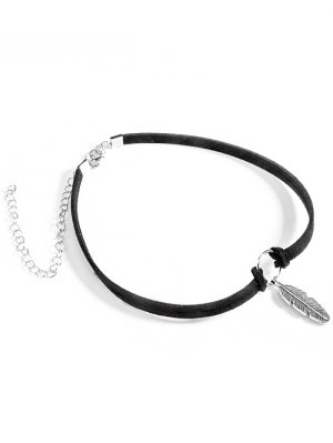 Feather Velvet Choker Necklace - Black