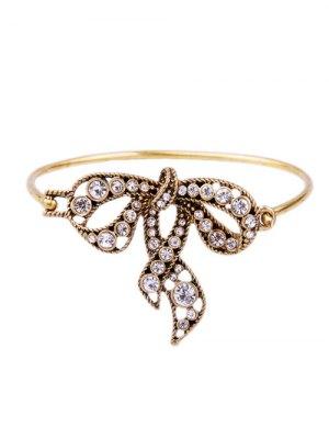Etched Rhinestone Bowknot Bracelet - Golden