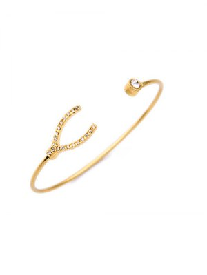 Rhinestone Gold Plated Cuff Bracelet - Golden