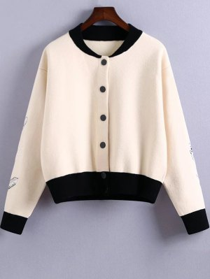Embroidery Stand Neck Hit Color Jacket - White