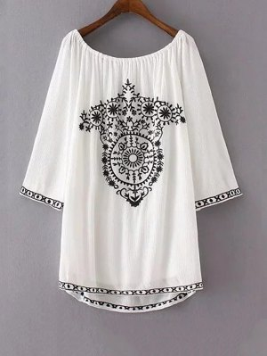Ethnic Embroidery Casual Dress - White