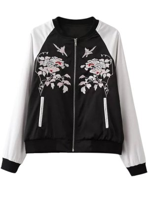 Floral Embroidery Hit Color Stand Neck Jacket - White And Black