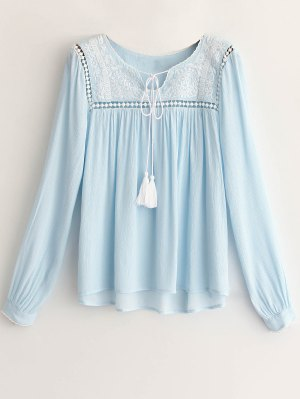 Embroidery Light Blue Long Sleeve Blouse - Light Blue