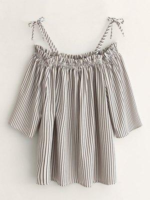Cold Shoulder  Striped Blouse - Stripe