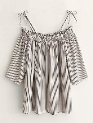 Cold Shoulder  Striped Blouse - Stripe