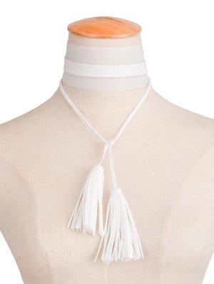 Velvet Tassel Necklace - White