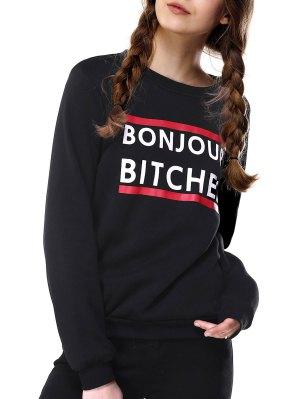 Loose Fitting Letter Print Sweatshirt - Black