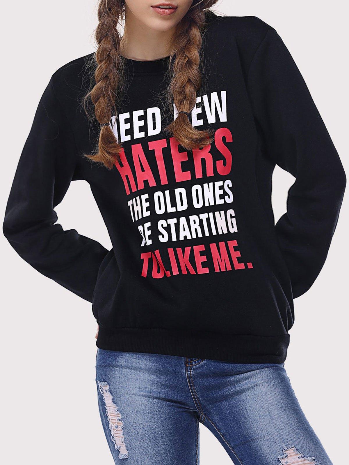 Hit Color Letter Print Sweatshirt
