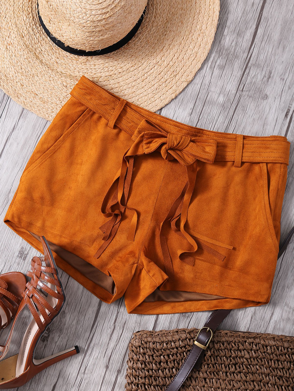 Straight Leg Camel Faux Suede Shorts