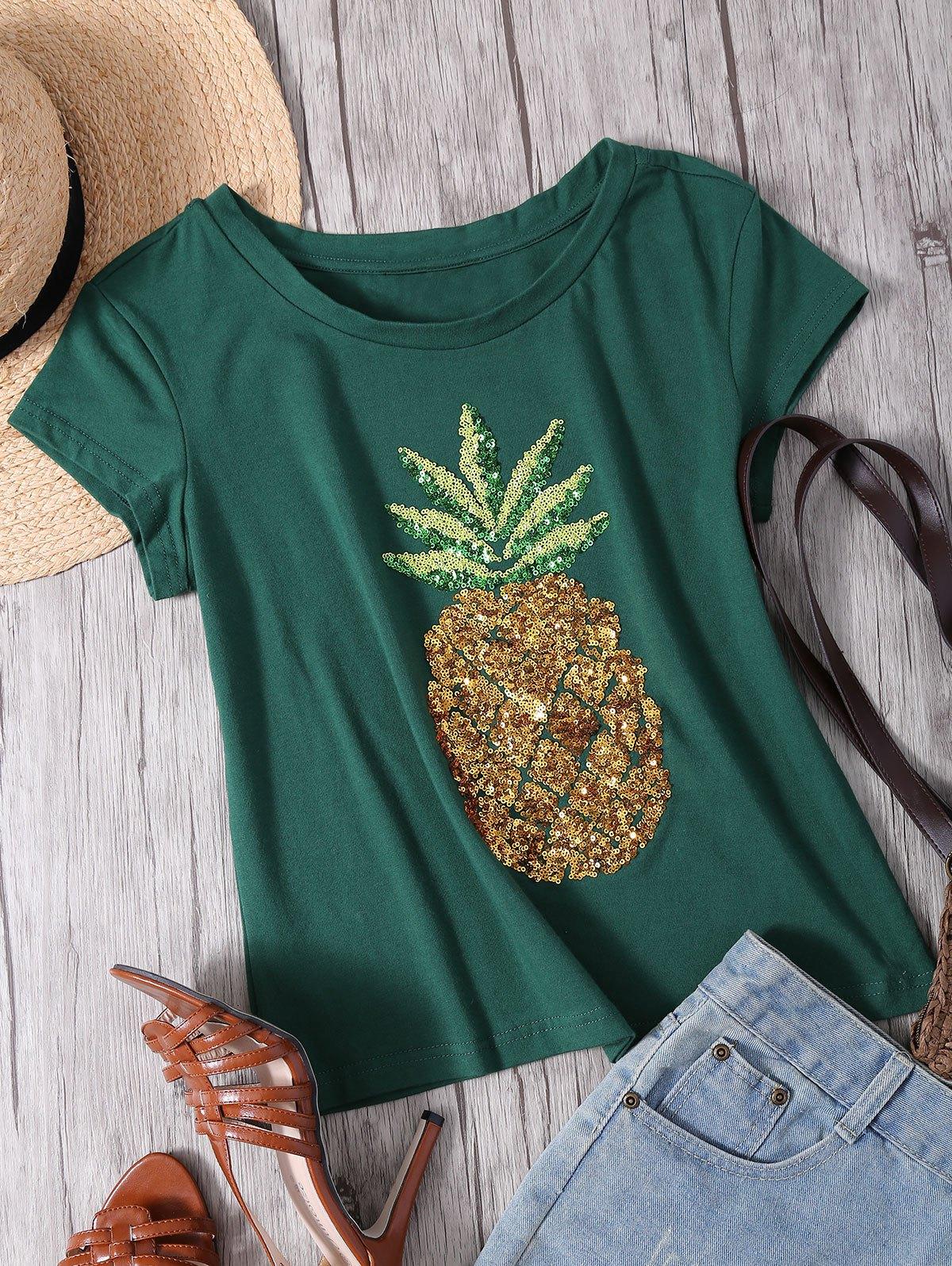 Round Neck Short Sleeve Sequins T-Shirt