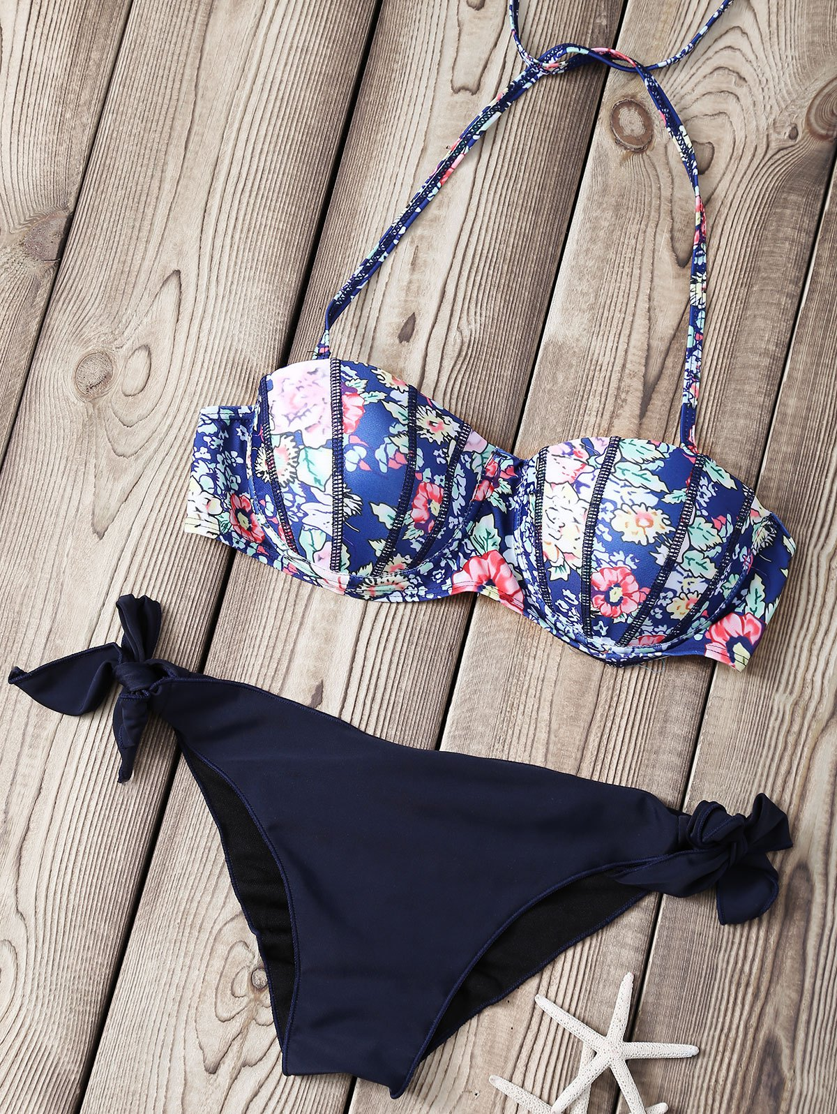 Strapless Printed Underwire Bikini Set
