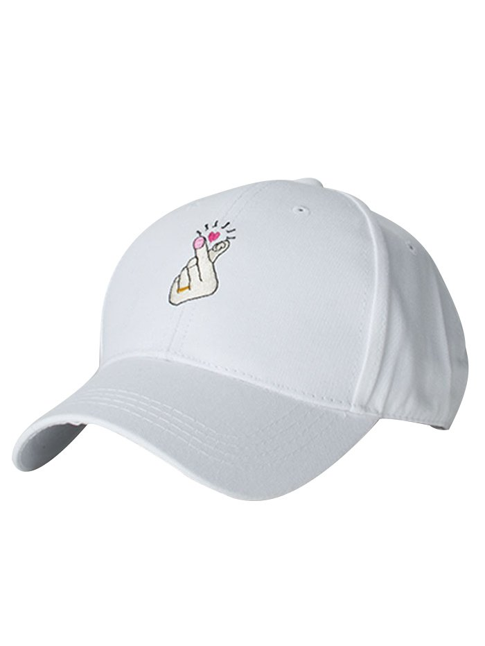 Heart Gesture Embroidery Baseball Cap For Women