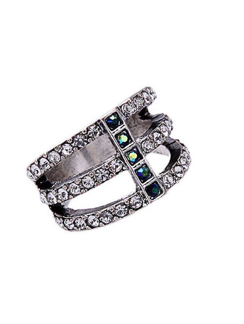 Silver Caged Rhinestone Ring
