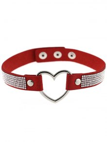 Rhinestone Heart Choker - Red
