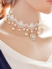 Rhinestone Lace Fake Pearl Wedding Choker - White