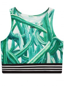 Cactus Print Round Neck Cropped Tank Top