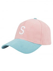 Letter Embroidery Suede Baseball Cap - Pink