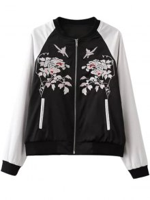 Floral Embroidery Hit Color Stand Neck Jacket - White And Black S
