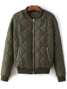 Argyle Stand Neck Solid Color Jacket