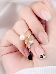 Rhinestone Moon Star Rings