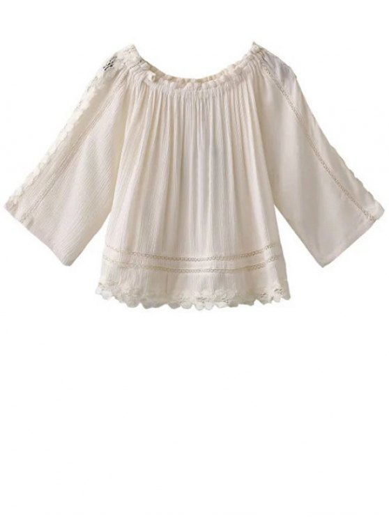 buy Lacework 3/4 Sleeve Cropped Blouse - WHITE S