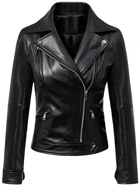 women Faux Leather Inclined Zipper Biker Jacket - BLACK L