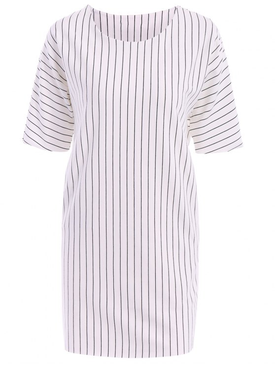 fashion Stripe Short Sleeve Dress - WHITE ONE SIZE(FIT SIZE XS TO M)
