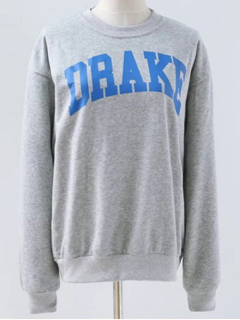 outfit Letter Pattern Round Neck Sweatshirt - LIGHT GRAY M Mobile