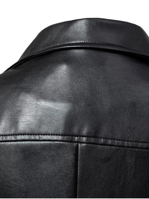 women Faux Leather Inclined Zipper Biker Jacket - BLACK L Mobile