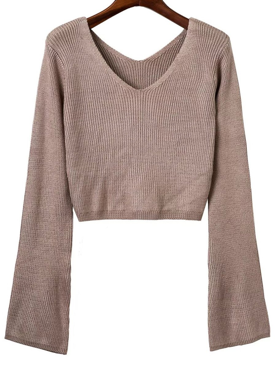 V Neck Long Sleeve Cropped Sweater