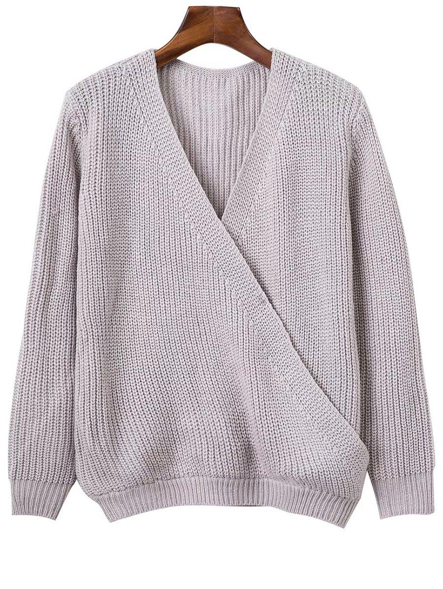 V Neck Long Sleeve Crossed Sweater