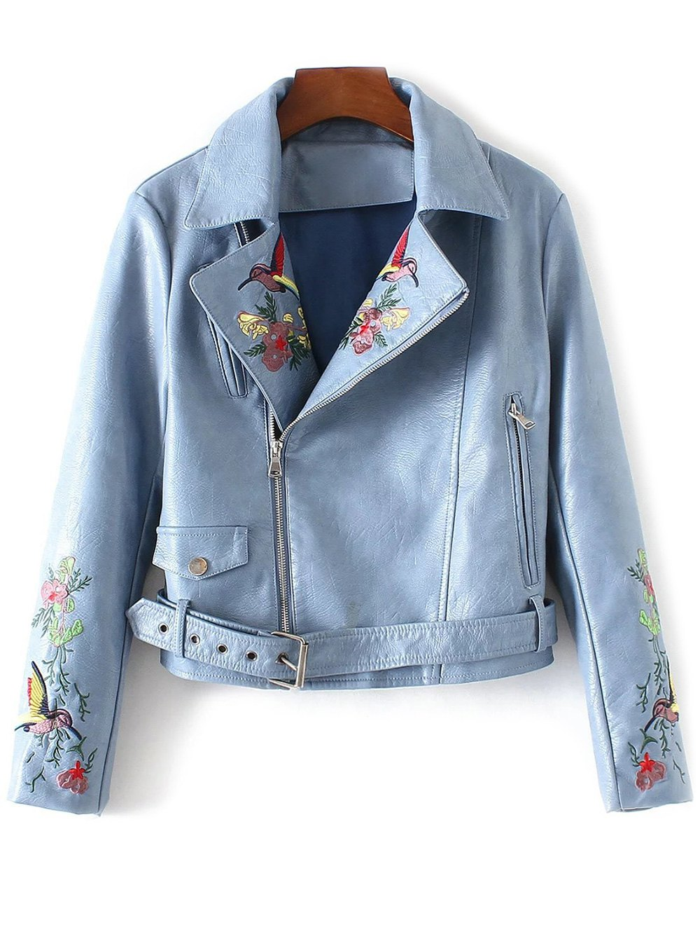 Lapel Collar Embroidered Faux Leather Inclined Zipper Jacket