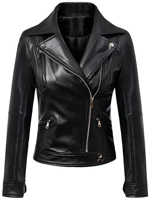 Lapel Collar Black Faux Leather Inclined Zipper Jacket