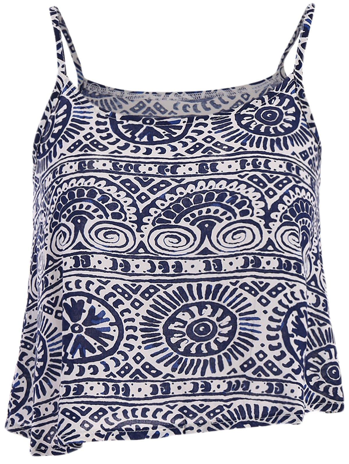 Round Pattern Stripe Print Tank Top - BLUE/WHITE S