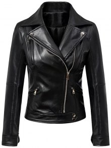 Faux Leather Inclined Zipper Biker Jacket