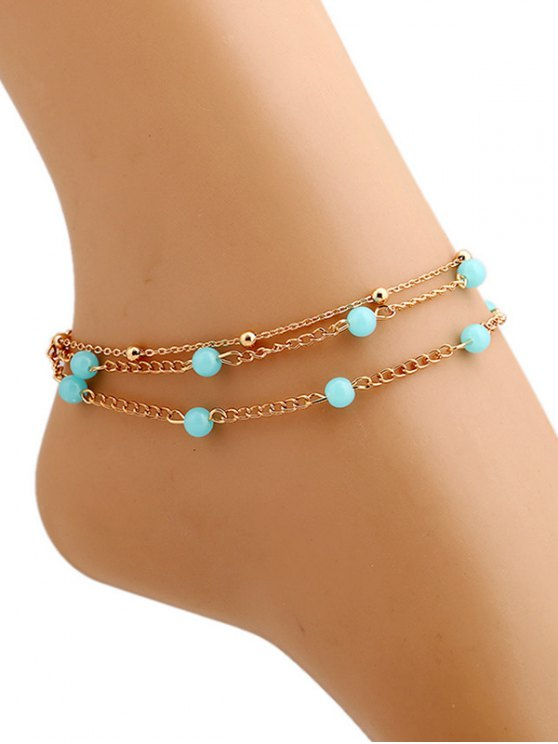 buy Bead Layered Leg Anklet - GOLDEN