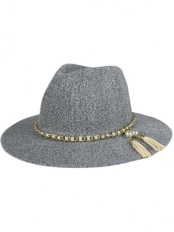 new Faux Pearl Tassel Sun Hat - GRAY